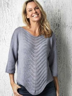 Strikket bluse med fint bølgemønster | Femina Summer Knitting, Fair Isle Knitting, Lace Knitting, Knitting Patterns Free, Knit Crochet, Crochet Patterns, Lace Sweater, How To Purl Knit, Bomuld