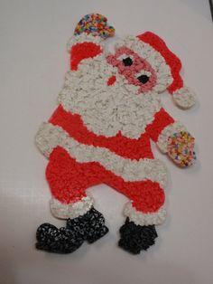 Do you remember these? I do!  Sale Vintage Melted Plastic Popcorn Christmas Waving Santa Decoration. $15.00, via Etsy.