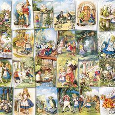 #collage #Aliceinwonderland #vintage #printable #illustration #sketch #color #fairytale #bizitalk