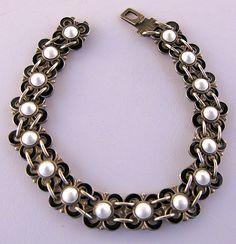 Vintage Sterling and Enamel Bracelet by Willy Winnaess for from laurasluxuries on Ruby Lane