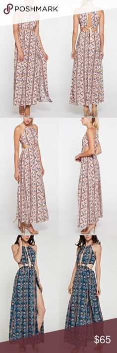 Cut Out Floral Print Maxi Dress - BLUSH Cut out print maxi dress. Also available in teal.   Model is wearing size small  Runs true to size  100% rayon Bellanblue Dresses Maxi