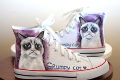 Grumpy cat handpainted shoes cat shoes internet by Dariacreative Crazy Cat Lady, Crazy Cats, Grumpy Cat Birthday, Cat Shoes, Sleepy Cat, Vintage Marketplace, New Outfits, Sneakers Fashion, Cat Lovers