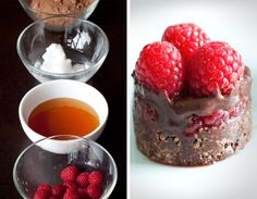 Raw Chocolate Cake with Raspberries - i want to make these, but don't have the molds, will try some other method.