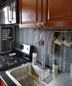 is a backsplash this renter made and that is completely removable