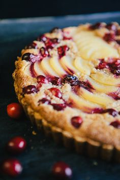 Cranberry Pear Tart with Almond Cream. I would use regular pie crust, or simple gram cracker crust next time. I used fresh peaches instead of pears. Almond cream was amazing!