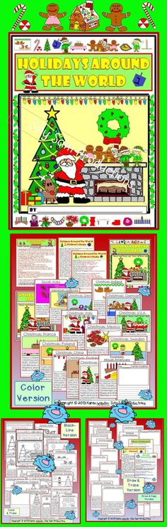 $ This one is different! Beautiful Keepsake Memory! Children create a 16 page Holidays Around the World Keepsake Book. Parents have loved receiving this special Holiday Treasure! 4 Versions included, for Differentiation or Choice. 15 Countries included: Decide how many, and which ones you would like to do. The final page of the book is for students to write and draw about their family's special holiday traditions!