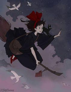 Kiki's Delivery Service (Majo no Takkyūbin / Kiki la petite sorcière) by Iren. Studio Ghibli Films, Art Studio Ghibli, Totoro, Hayao Miyazaki, Dark Fantasy, Base Anime, Howl And Sophie, Kiki Delivery, Illustration