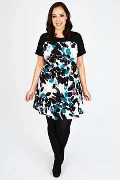 Colour Block Smudge Print Textured Swing Dress