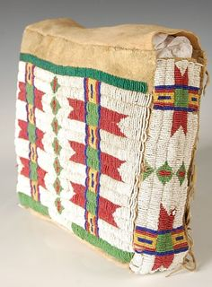 Lot: 19TH CENTURY ARAPAHO POSSIBLE BAG W BEADED DECORATION, Lot Number: 0061, Starting Bid: $600, Auctioneer: Dirk Soulis Auctions, Auction: Native American Auction 19th & 20th Centuries, Date: November 10th, 2013 CST