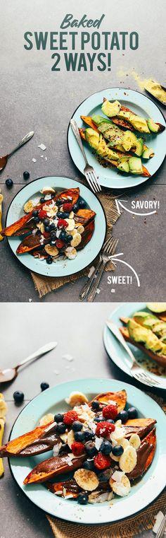 HEALTHY Baked Sweet Potatoes 2 Ways #vegan #glutenfree #minimalistbaker