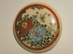 Antique Large Satsuma Hand Painted Porcelain Button ...sold in 2013 for $23.50