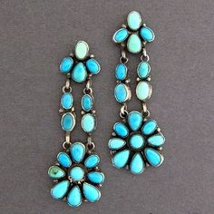 Native American Navajo Sterling Silver Turquoise Cluster Dangle Earrings