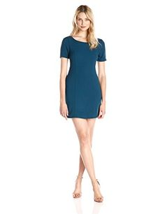 Everly Women's Short Sleeve Fitted Dress with V Back Detail