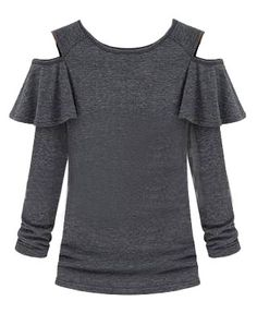 Corrugated Edge Off-The-Shoulder Cotton T-shirt