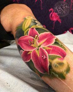 Flower tattoo by Liz Venom My favorite Lilly! I grow these and they smell amazing!!!