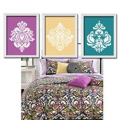 Damask Purple Wall Art CANVAS or Prints Purple Shades by TRMdesign