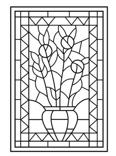 Flower Vase Stained Glass Coloring page