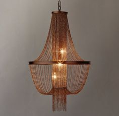RH TEEN's Allegra Empire Chandelier - Copper:Lengths of delicate linked metal are draped from a metal frame in a traditional Empire silhouette. A column of chains in the center veils the downward-facing bulbs for dramatic flair.