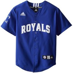 Amazon.com : MLB Kansas City Royals Boy's Screen Printed Team Color... (€52) ❤ liked on Polyvore featuring tops, shirts, jerseys and kids