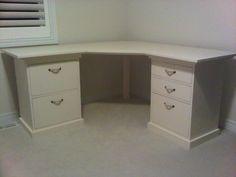 Desk with short drawer/sidetables and a homemade desktop