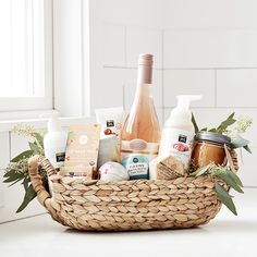 This holiday were loving artisanal chocolate vanilla chai hand cream and rosemary-scented candles among other things. See how you can throw them all together to make the ultimate present with our gift basket guide. Housewarming Gift Baskets, Holiday Gift Baskets, Diy Gift Baskets, Diy Holiday Gifts, Christmas Baskets, Diy Gifts, Chef Gift Basket, Gift Basket Ideas, Homemade Gift Baskets