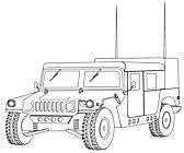 Ausmalbild/Malvorlage Geländewagen Jeep (Klicken für Großansicht + PDF)