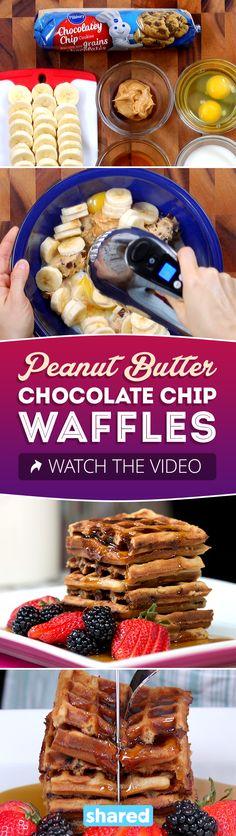 Peanut Butter Chocolate Chip Waffles