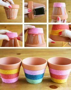 Flower Pots Do It Yourself - yarn wrapped flower pots! Add some bright color to your flower pots with this easy to do fun craft.Do It Yourself - yarn wrapped flower pots! Add some bright color to your flower pots with this easy to do fun craft. Flower Pot Crafts, Clay Pot Crafts, Crafts To Do, Yarn Crafts, Crafts For Kids, Arts And Crafts, Diy Crafts, Diy Flower, Flower Pot Art