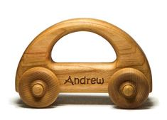 Your babys first car! A car that any age child can hold on to. This wooden car is sanded smooth and the edges are rounded over so any baby or toddler can easily hold on to this toy. This wooden toy car measures approximately: 5 inches long 3 inches tall 2 inches wide at wheels