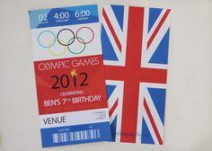 Olympic Opening Ceremony Ticket London USA Union Jack Red White Blue Printable Invitation. $18.00, via Etsy.