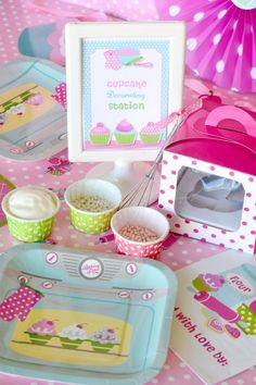Decorating Station - love the individual cups for sprinkles, different frosting colors, etc