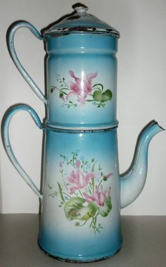 ancienne cafeti re maill e d cor floral enlosados pinterest fleuri d cor et caf. Black Bedroom Furniture Sets. Home Design Ideas