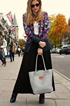 floral jacket + black maxi skirt + white vest