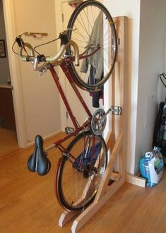 The final product: stable, easy to use, and a must have for every tiny, urban, biking girl's apartment. - Imgur #bikerepairdiy