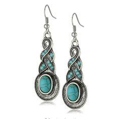 Yazilind Charming Ethnic Tibetan Silver Oval Rimous Turquoise Crystal Drop Dangle Earrings