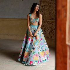 Hyderabad Designer Aisha Rao Has Gorgeous Colourful Lehengas Under 1 Lakh - Hyderabad Designer Aisha Rao does amazing colourful mehendi and pre-wedding lehengas. If you love ruffle sarees, she has that too in her collection. Mehendi Outfits, Pakistani Outfits, Indian Outfits, Indian Clothes, Designer Bridal Lehenga, Bridal Lehenga Choli, Off Shoulder Lehenga, Party Wear Lehenga, Embellished Gown