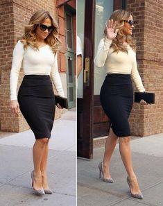 Just a pretty celebrity: Street style high waist pencil skirt on Jennifer Lopez Work Fashion, Skirt Fashion, Fashion Models, Fashion Outfits, Womens Fashion, Fashion Photo, J Lo Fashion, Office Fashion, Pencil Skirt Outfits