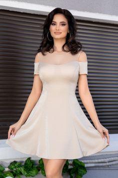Zonia: Rochii de seara mini, cu maneci scurte – Produse si Marci All Things, White Dress, Dresses, Design, Cream, Fashion, Vestidos, Embroidery, Kleding