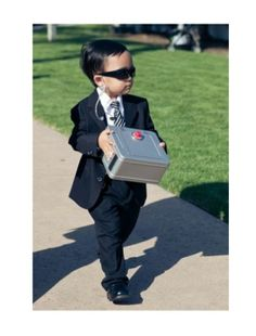 This is a hilarious ring bearer idea. More weddings need to have fun like this. Laughter produces more fond memories than safe and typical formal/classical weddings.----My ring bearer is totally going to be the secret service at my wedding. Perfect Wedding, Our Wedding, Dream Wedding, Wedding Parties, Wedding Stuff, Wedding Rings, Crazy Wedding, Wedding Games, Wedding Receptions