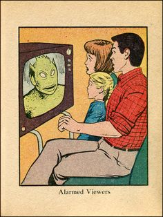 By the television set. Alien. Sci-fi. Pop Art Retro Comic Illustration