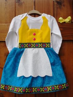 great costume for littles! German dirndl dress. She just sewed it onto a onesie
