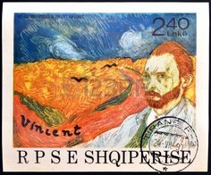 Wheatfield with Crows and self-portrait of Vincent Van Gogh, stamp printed in Albania,circa 1990