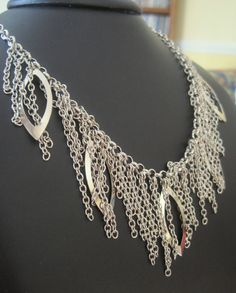 Silver fringe necklace  -from RedSnake on Etsy $23  #jewelry #chain