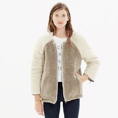 """With plush faux-shearling colorblock on one side and clean-edged quilting on the other, this is two """"yes, please"""" coats in one. An innovative reversible style that is at once oh so cozy and totally snapshot-worthy. <ul><li>True to size.</li><li>Poly/acrylic.</li><li>Machine wash.</li><li>Import.</li><li>Madewell.com only.</li></ul>"""