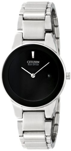 Citizen Eco-Drive Women's GA1050-51E Axiom Analog Display Silver Watch >>> You can find out more details at the link of the image.