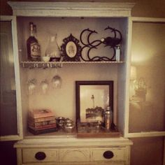 DIY: Turn a Hutch into a Bar – the journal Small Space Living, Living Spaces, Bar Hutch, Interior Decorating, Interior Design, Big Houses, Repurposed Furniture, My Dream Home, Home Projects