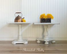 Farmhouse White End Tables. Hand painted side tables, end tables, night stands with Annie Sloan Chalk Paint. by ShenandoahShabby on Etsy White End Tables, Painted Side Tables, Mismatched Furniture, Annie Sloan Chalk Paint, Painted Furniture, Nightstand, Shabby, Hand Painted, Farmhouse