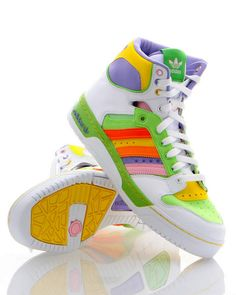 Most colorful high tops - style Neon high-top sneakers I had a pair very similar to these. There was a bit more pink on them though, hehe. High Top Sneakers, Sneakers Mode, Sneakers Fashion, 80s Fashion, Fashion Models, Fashion Outfits, Womens Fashion, Sneaker Outfits, High Tops
