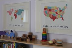 Geography prints help your LO know where they come from.  #nursery #maps #frames