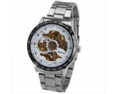 $14.00 Huhang Mechanical Watch Needles Hour Marks Round Dial with Steel Watchband for Men (White)